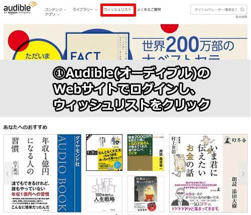 Audible(オーディブル)のWebサイトでログインし、ウィッシュリストをクリック